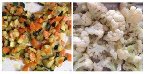 preparación de las verduras